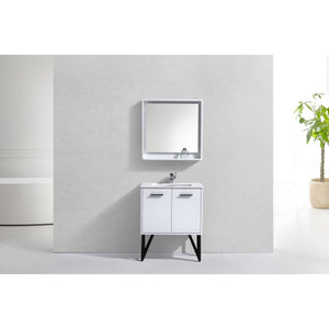 "Bosco 30"" Glossy White Vanity with Quartz Countertop and Mirror by KubeBath"