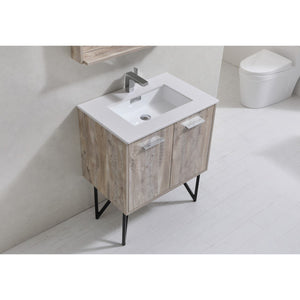 "Bosco 30"" Modern Vanity with Quartz Countertop and Mirror by KubeBath"