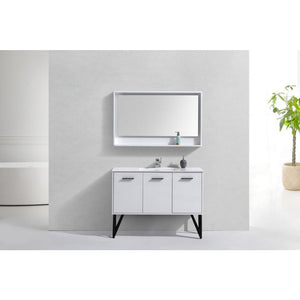 "Bosco 48"" Gloss White Vanity with Quartz Countertop and Mirror by KubeBath"