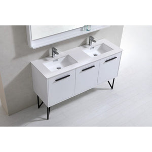 "Bosco 60"" Gloss White Double Sink Modern Vanity with Quartz Countertop and Mirror by KubeBath"