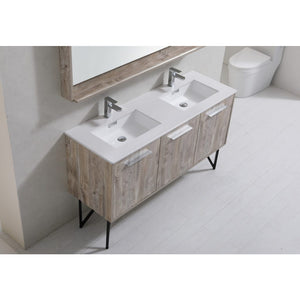 "Bosco 60"" Double Sink Modern Vanity with Quartz Countertop and Mirror by KubeBath"