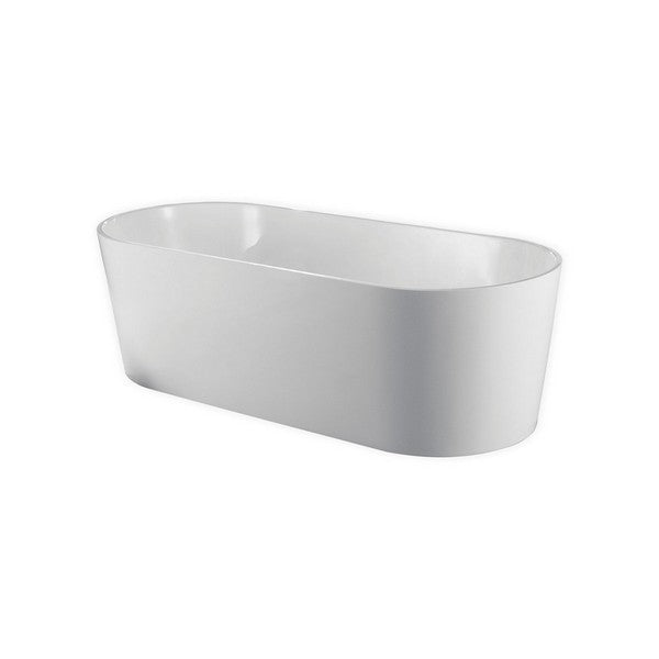 White Oval Acrylic Freestanding Bathtub - KubeBath - Ovale 67 in