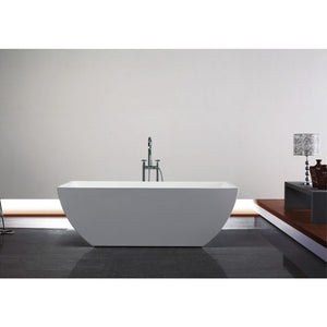 White Acrylic Rectangular Freestanding Bathtub - KubeBath - Contemporanea