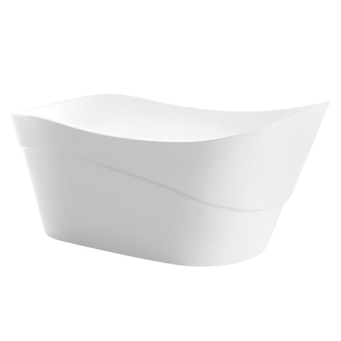 Glossy White Acrylic Oval Freestanding Bathtub - Anzzi Kahl- 67 in