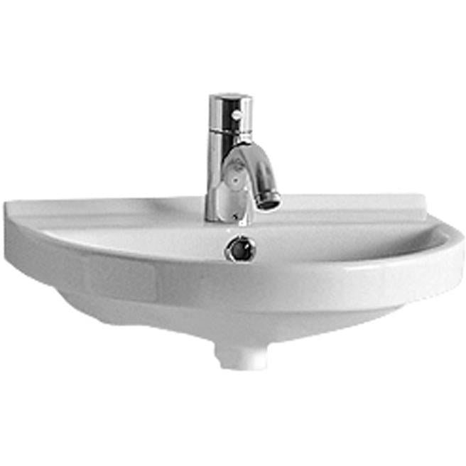 Whitehaus Isabella Collection Small U-Shaped Wall Mount Basin with Chrome Overflow and Rear Center Drain