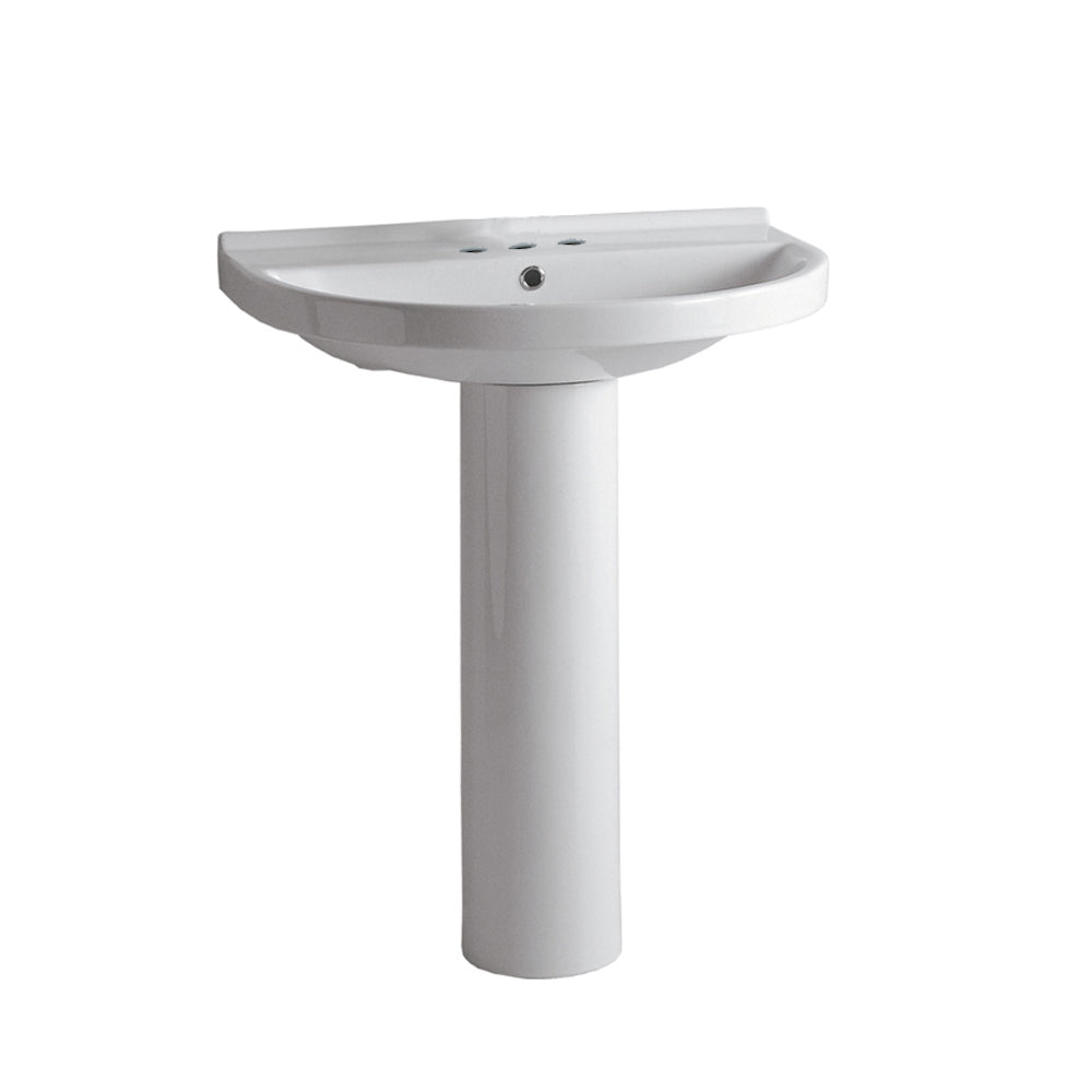Whitehaus Isabella Collection U-Shaped, Tubular Pedestal Sink with Widespread Faucet Driliing