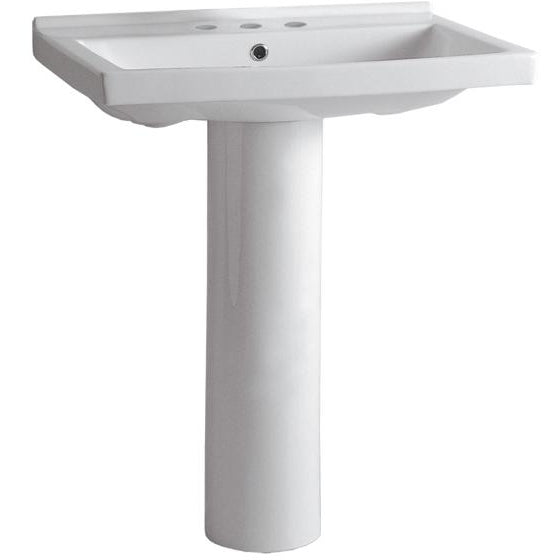 Whitehaus Isabella Collection Tubular Pedestal Sink with Rectagular Basin, Chrome Overflow and Widespread Faucet Drilling