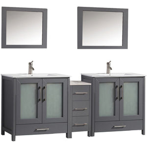 "MTD Vanities Argentina 72"" Double Sink Bathroom Vanity Set, Grey"