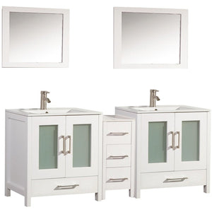 "MTD Vanities Argentina 72"" Double Sink Bathroom Vanity Set, White"