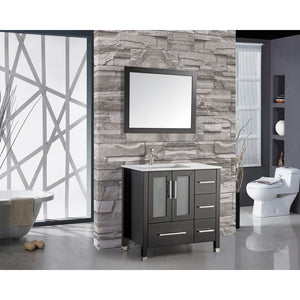 "MTD Vanities Sweden 36"" Single Sink Bathroom Vanity Set (Left Side), Espresso"