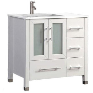 "MTD Vanities Sweden 36"" Single Sink Bathroom Vanity Set (Left Side), White"