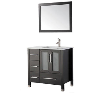 "MTD Vanities Sweden 36"" Single Sink Bathroom Vanity Set (Right Side), Espresso"
