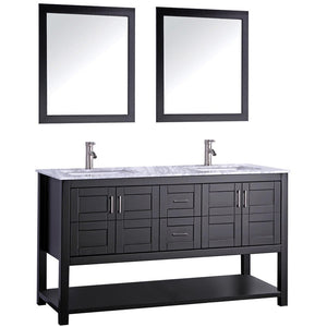 "MTD Vanities Norway 60"" Double Sink Bathroom Vanity Set, Espresso"