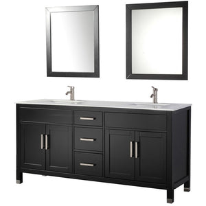 "MTD Vanities Ricca 84"" Double Sink Bathroom Vanity Set, Espresso"