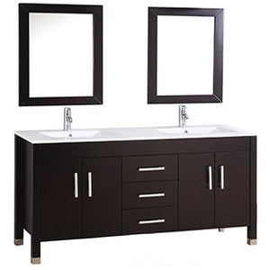 "MTD Vanities Monaco 72"" Double Sink Bathroom Vanity Set, Espresso"