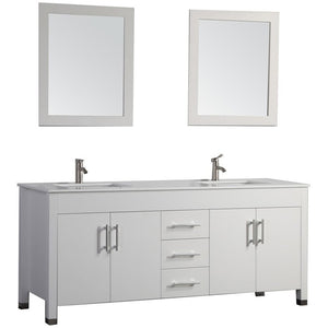 "MTD Vanities Monaco 72"" Double Sink Bathroom Vanity Set, White"