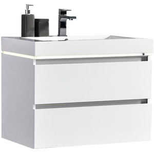 "MTD Vanities Maui 24"" LED Illuminated Single Sink Wall Mount Floating Bathroom Vanity with Acrylic Top"