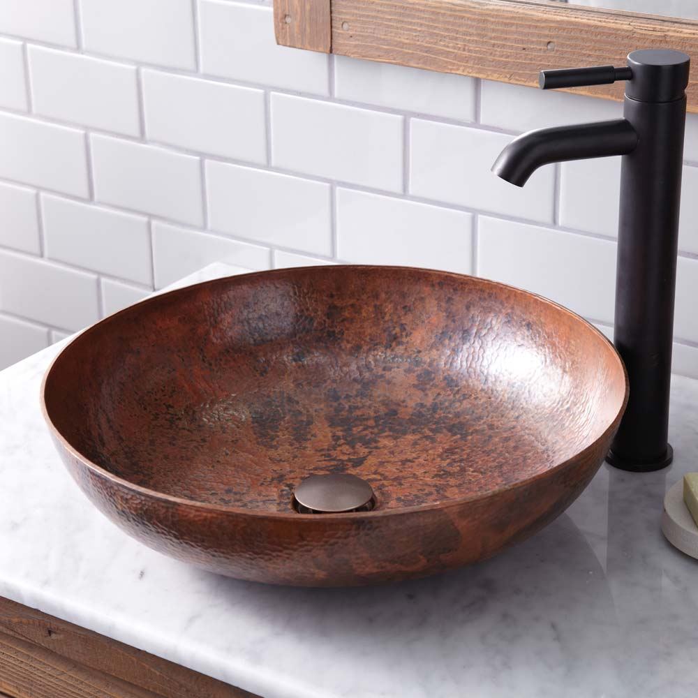 Maestro Sonata Bathroom Sink in Tempered Copper by Native Trails