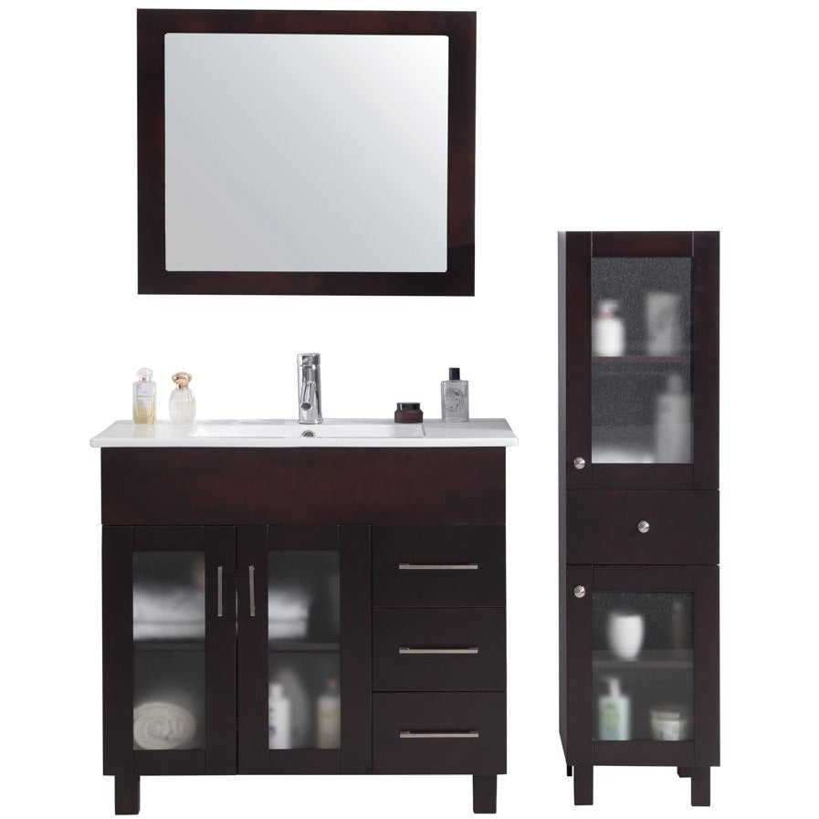 Nova 36 - Brown Vanity and Ceramic Basin Counter by Laviva