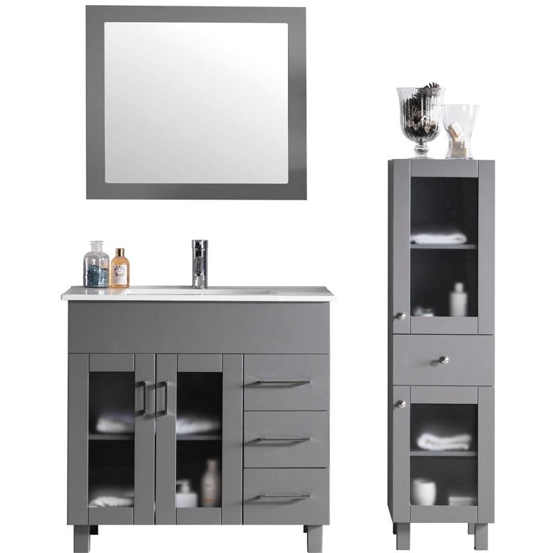 Nova 36 - Grey Vanity and Ceramic Basin Counter by Laviva