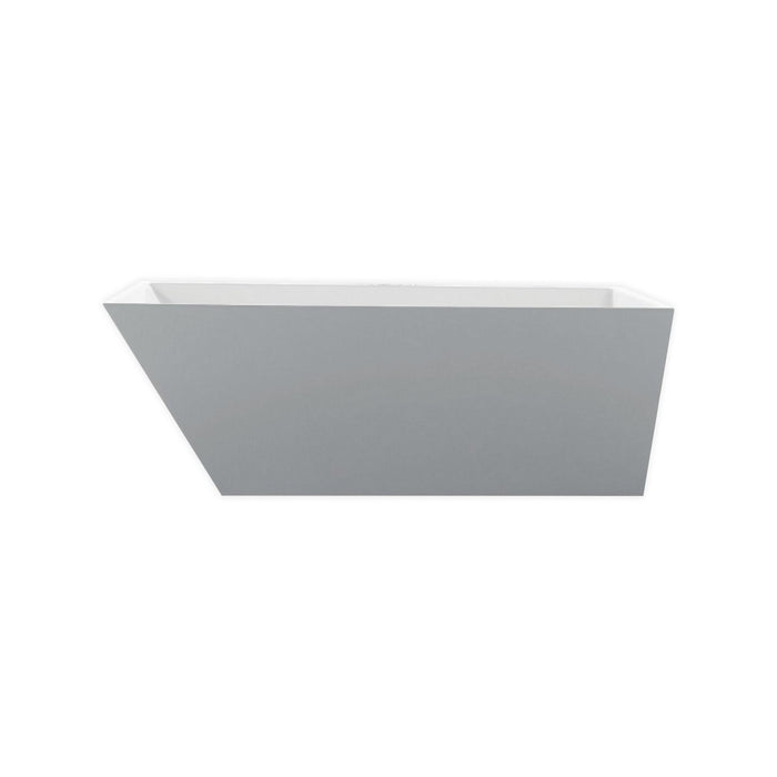White Rectangular Acrylic Freestanding Bathtub - KubeBath - Obliquo 59 in