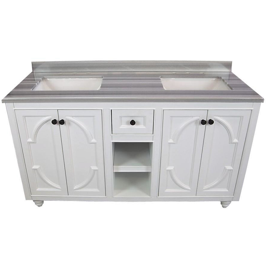 Odyssey - 60 - White Vanity and White Stripes Counter by Laviva