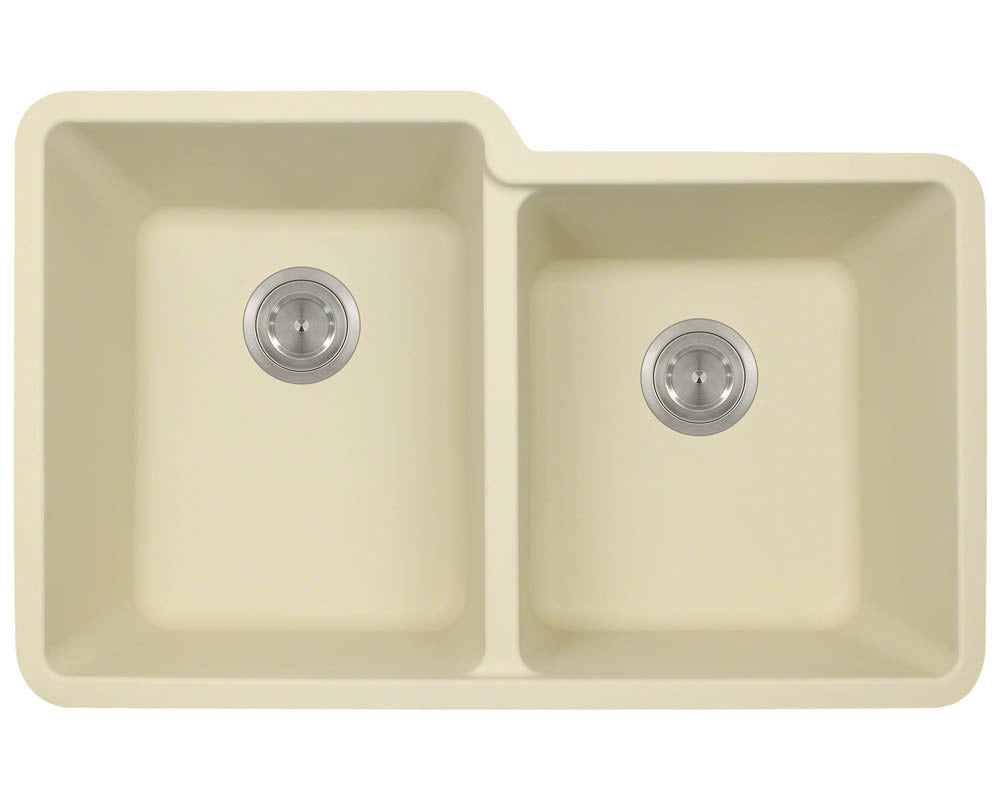 P108BE Double Offset Bowl AstraGranite Sink by Polaris