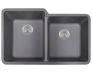 P108S Double Offset Bowl AstraGranite Sink by Polaris