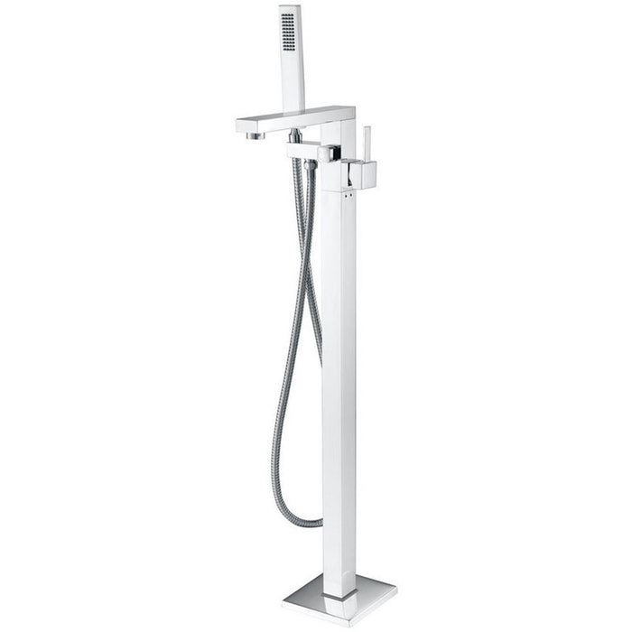 MTD Vanities Eilat 2011 Single Handle Floor Mount Tub Filler with Hand Shower Polished Chrome Finish