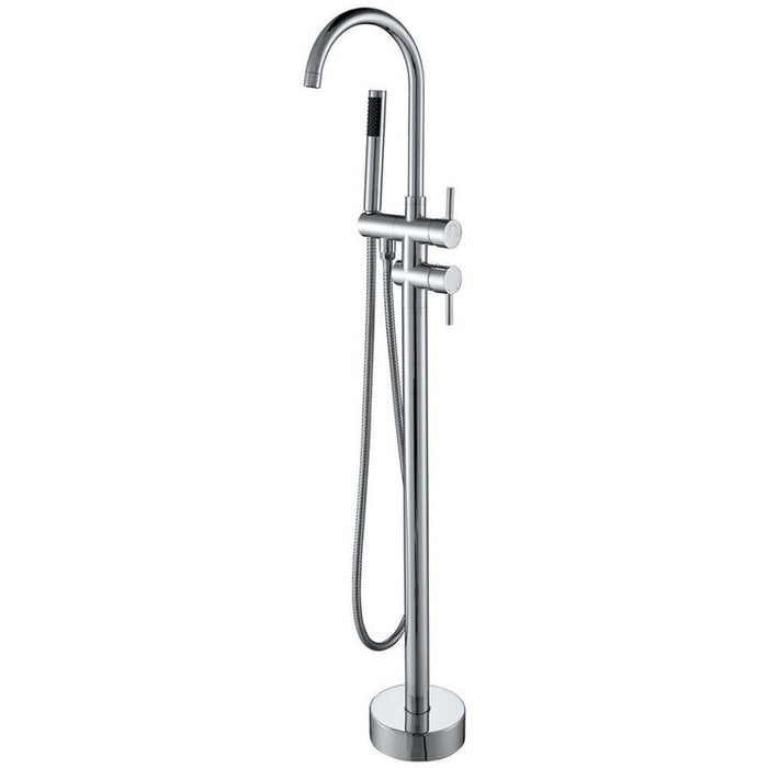 MTD Vanities Eilat 2012 Single Handle Floor Mount Tub Filler with Hand Shower Polished Chrome Finish