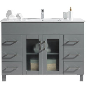 Nova 48 - Grey Vanity and Ceramic Basin Counter by Laviva