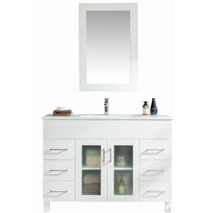 Nova 48 - White Vanity and Ceramic Basin Counter by Laviva