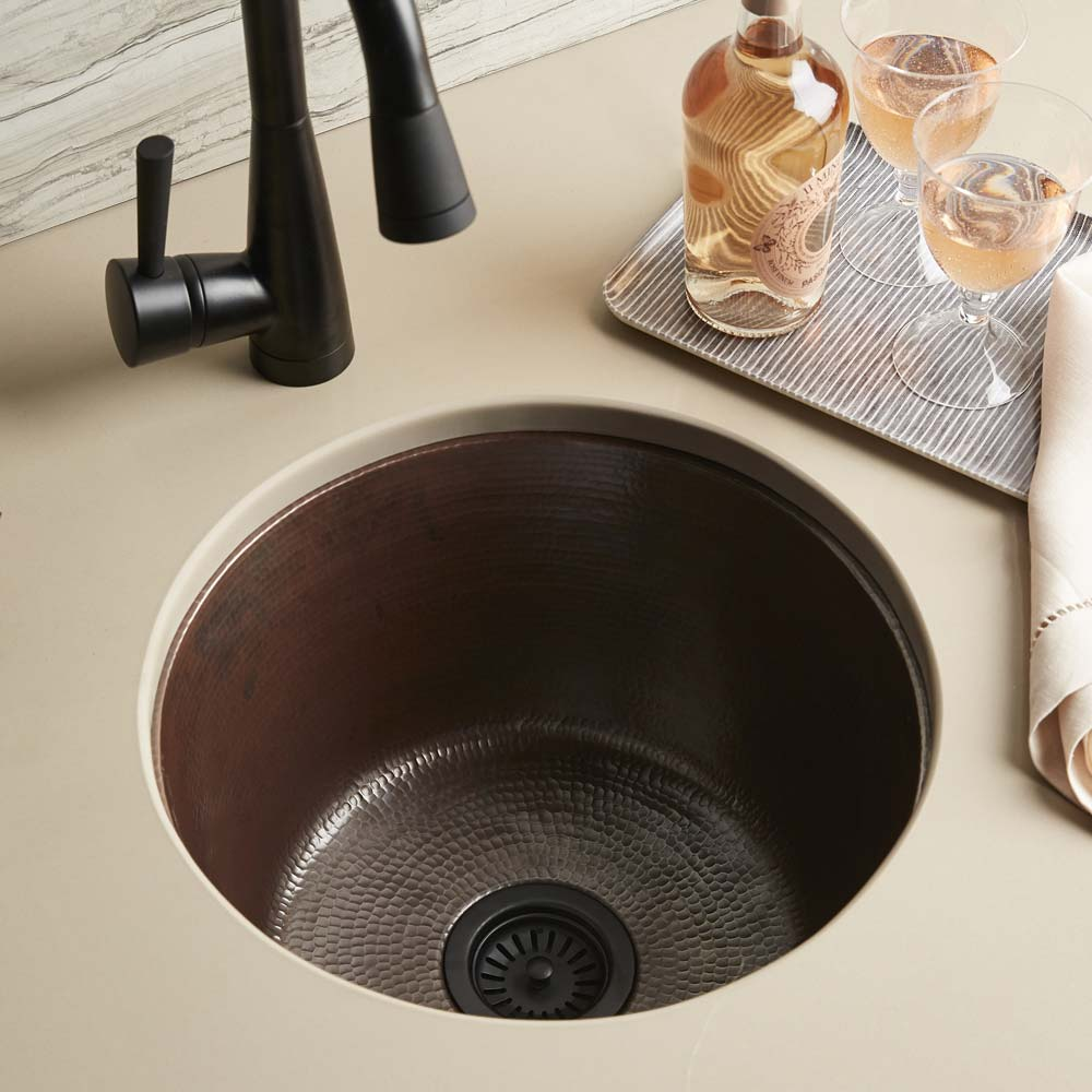 Redondo Grande Bar and Prep Sink in Antique Copper by Native Trails