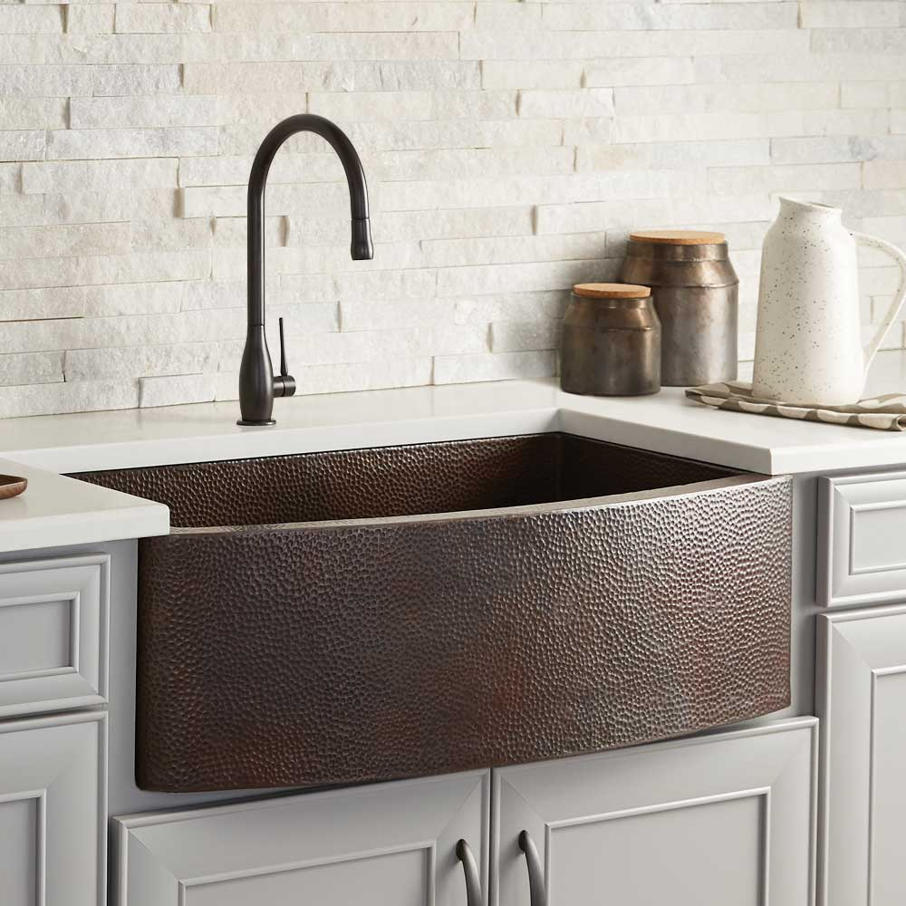 Rhapsody Farmhouse Kitchen Sink in Antique Copper by Native Trails