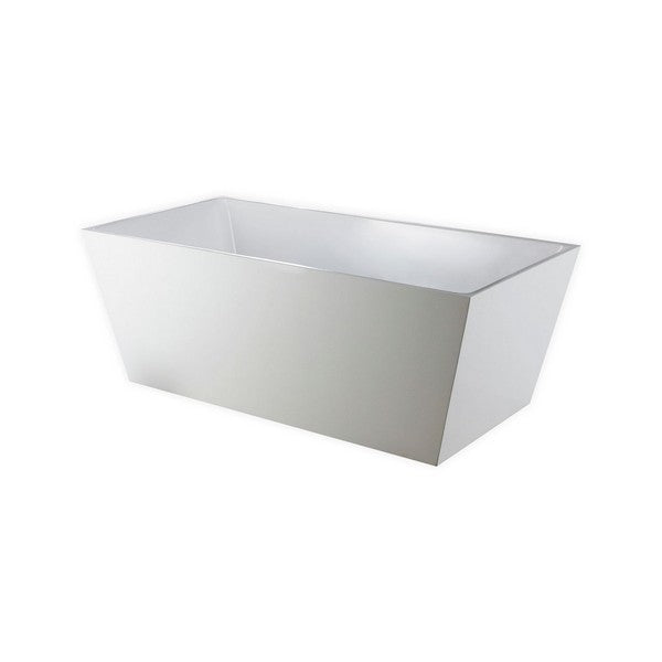 White Rectangular Acrylic Freestanding Bathtub - KubeBath - Squadra 63 in