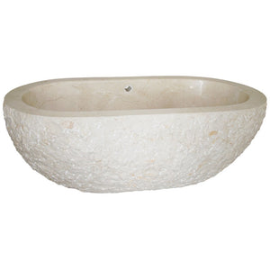 74 Inch Oval Stone Freestanding Bathtub by AllStone - TOF-74-BE-CM