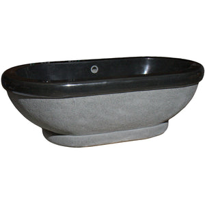 74 Inch Oval Stone Freestanding Bathtub by AllStone - TOFA-74-BK
