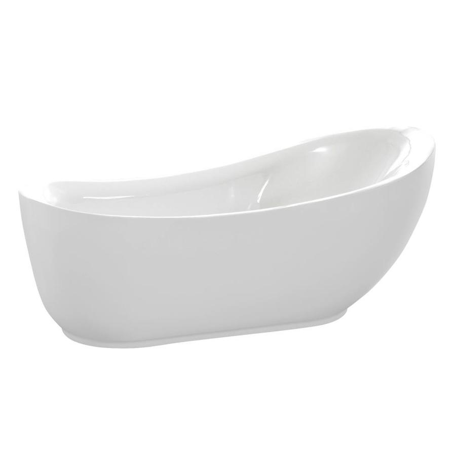 Glossy White Acrylic Oval Freestanding Bathtub - Anzzi Talyah - 71 in