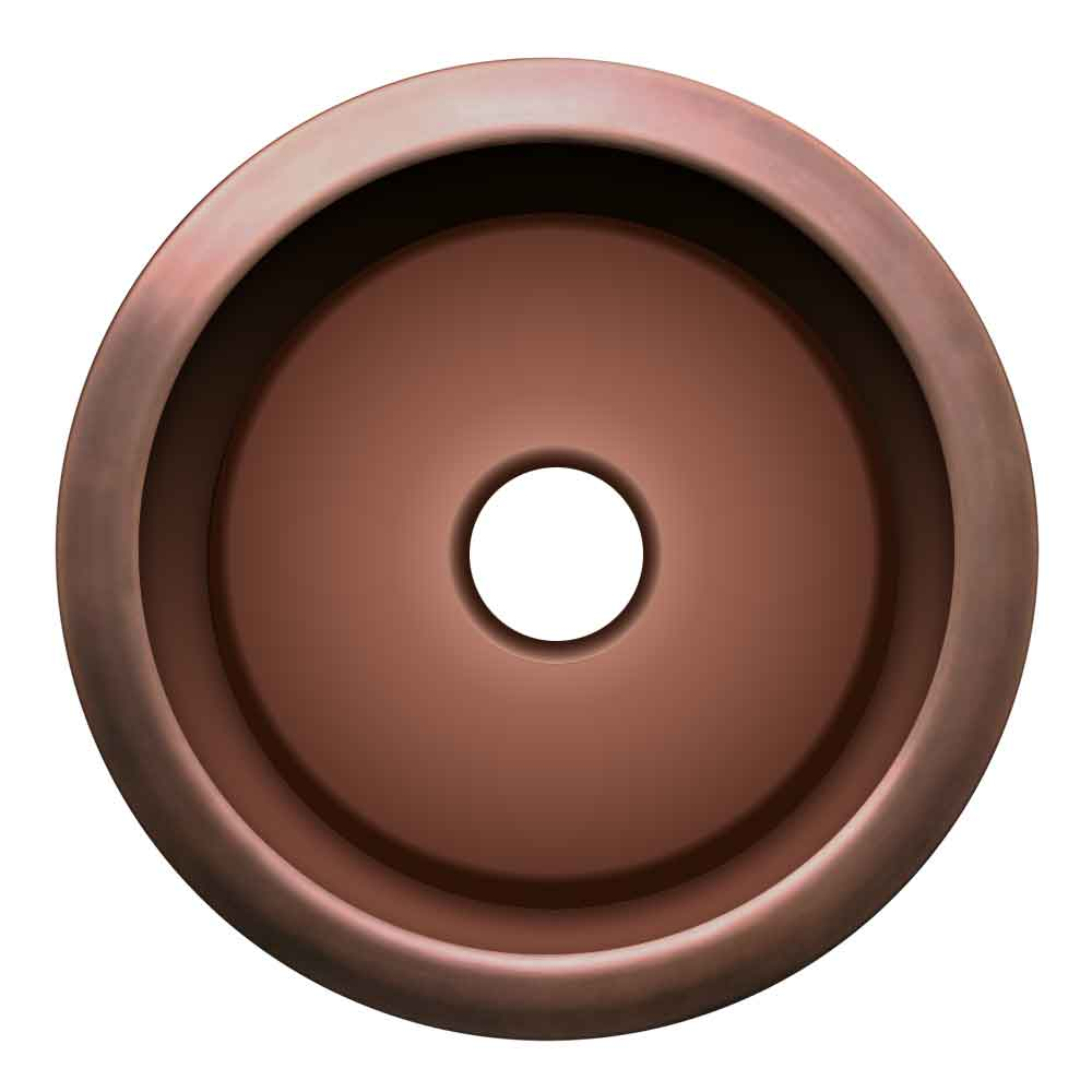 Whitehaus Copperhaus Large Round Drop-in/Undermount Prep Sink with a Smooth Texture