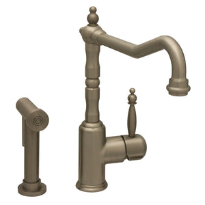 Whitehaus Jem Collection Single Lever Handle Faucet with Traditional Swivel Spout and Solid Brass Side Spray