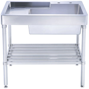 Whitehaus Pearlhaus Brushed Stainless Steel Single Bowl, Freestanding Utility Sink with Drainboard and Lower Rack