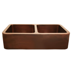 Whitehaus Copperhaus Rectangular Double Bowl Undermount Sink with Smooth Front Apron