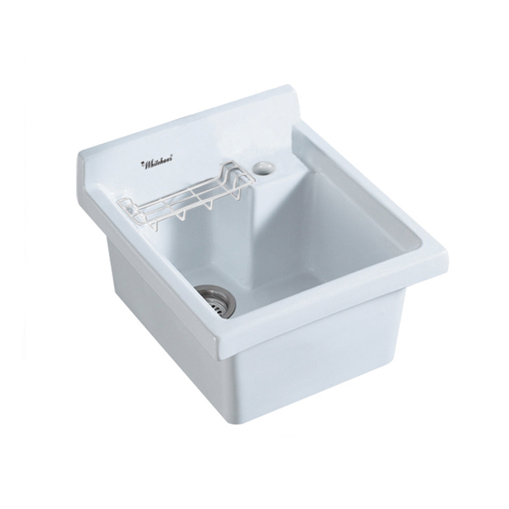 Whitehaus Vitreous China Single Bowl, Drop-in Sink with Wire Basket and 3 ½ Inch Off Center Drain