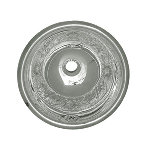 "Whitehaus Decorative Round Floral Pattern Drop-in Basin with Overflow and a 1 1/4"" Center Drain"