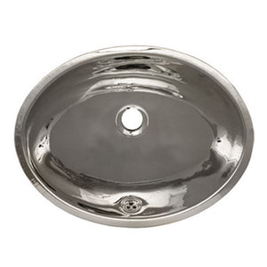 "Whitehaus Decorative Smooth Oval Undermount Basin with Overflow and a 1 1/4"" Center Drain"