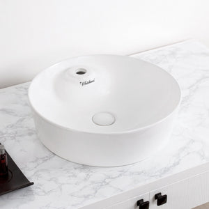 Whitehaus Isabella Plus Collection Round Above Mount Basin with Single Faucet Hole and Center Drain