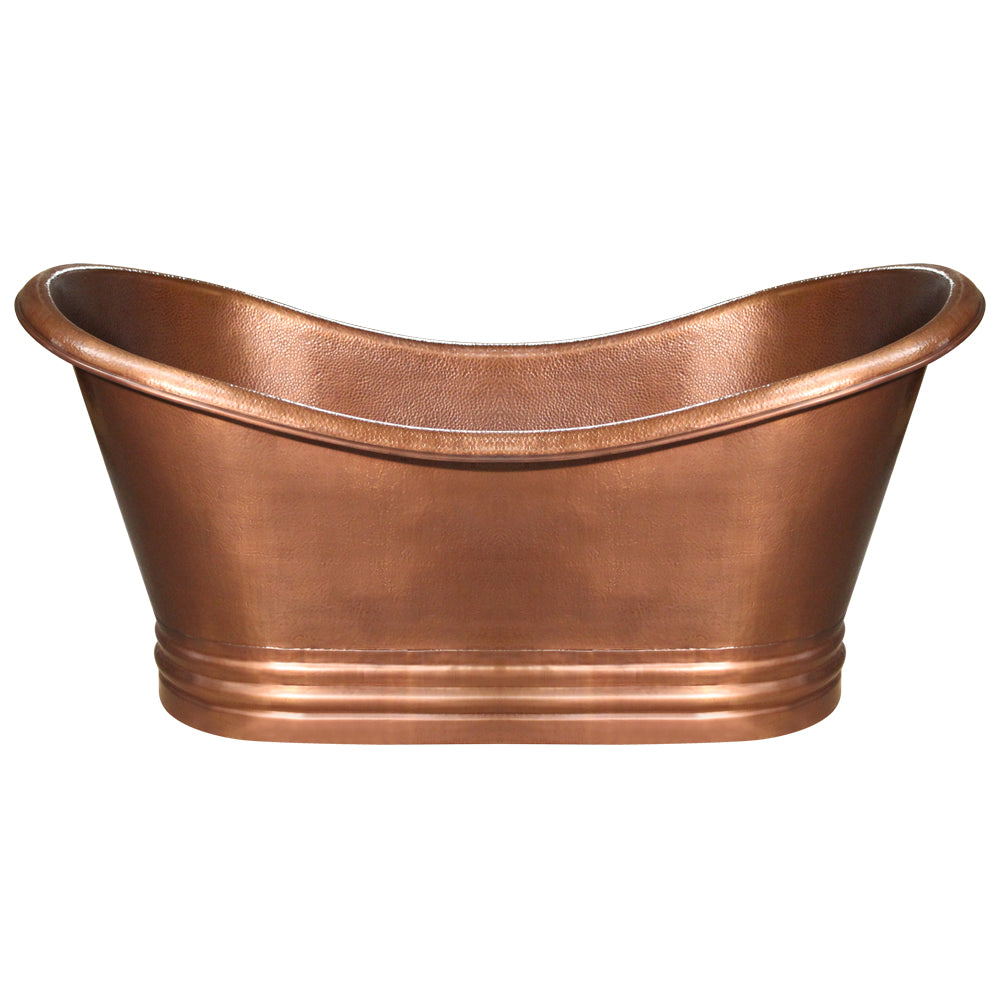 Whitehaus Bathhaus Copper Freestanding Handmade Double Ended Bathtub with Hammered Exterior, Lightly Hammered Interior and No Overflow