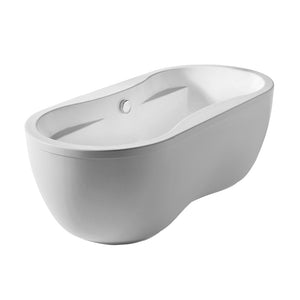 Whitehaus Bathhaus Oval Double Ended Dual Armrest Freestanding Lucite Acrylic Bathtub with a Chrome Mechanical Pop-up Waste and a Chrome Center Drain with Internal Overflow
