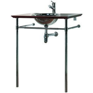 Whitehaus New Generation Exotic Bubinga Wood Counter Top with Mahogany Finish Includes: Polished Stainless Steel Drop-In Basin and Double Leg Supports with Attached Towel Bar