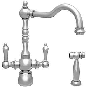 Whitehaus Englishhaus Dual Lever Handle Faucet with Traditional Swivel Spout, Solid Lever Handles and Solid Brass Side Spray